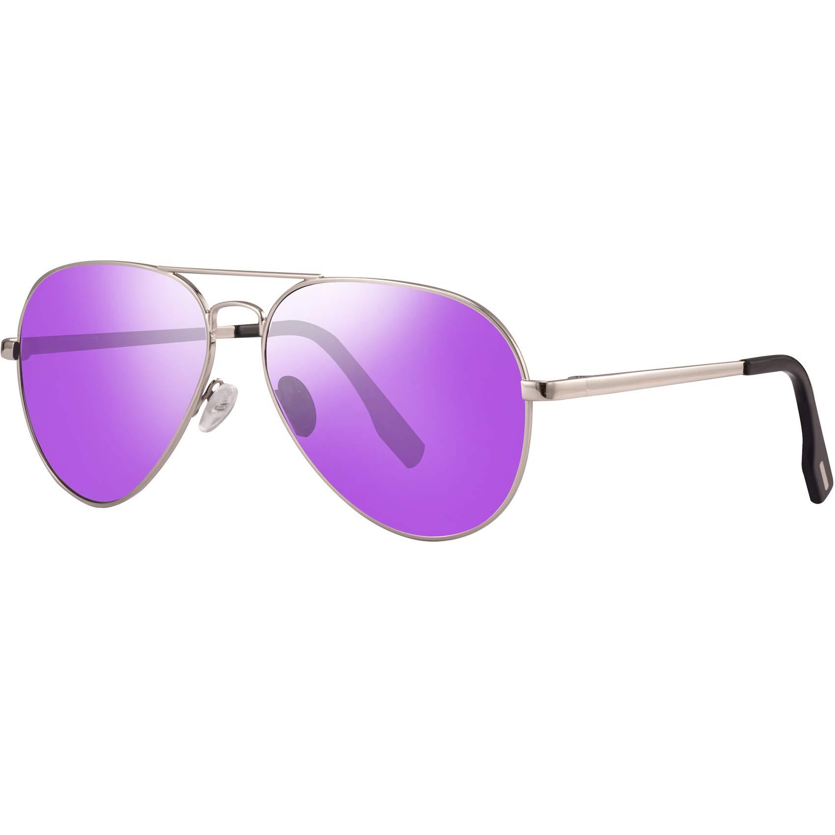 Polarized Sunglasses Aviator Sunglasses for Men - FEIDU Polarized Aviator Sunglasses for Men Sunglasses Man FD9007 (purple) by FEIDU
