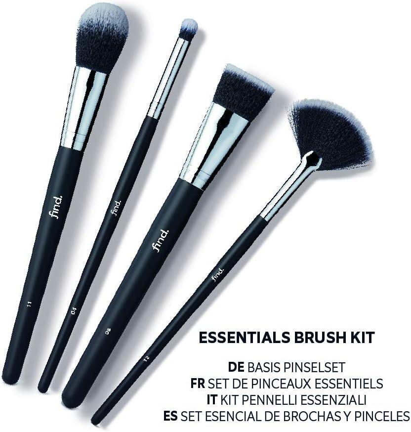 FIND - Kit esencial - Pincel para sombras, para base de maquillaje, para colorete y pincel abanico para iluminar (4 pinceles) - n.? 04, n.? 08, n.? 11, n ?12: Amazon.es: Belleza