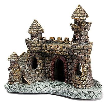 Paleo Acuario torre del castillo adorno para la decoración pecera