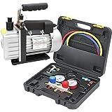 マニホールドゲージ 真空ポンプセット エアコン ガスチャージ 対応冷媒 R134a R22 R410a R404a ポンプ排気速度30~36L/min