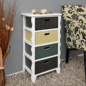 Cómoda blanca con borde de diseño con onda con 4 cajoneras de color gris,beige y marrón para pasillo, baño cocina