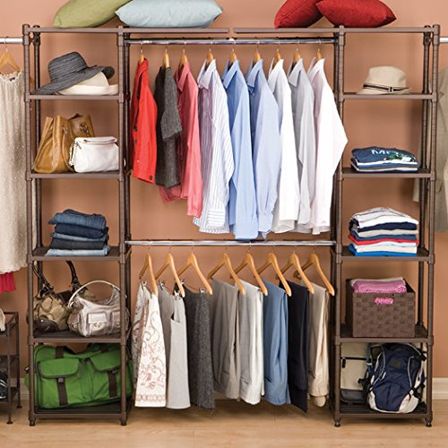 14'' Elegant Look Sturdy Steel Wire and Plated with a Bronze Epoxy Finish Adjustable Eight Shelves with Two Cantilever Shelves Fully Customizable Deep Expandable Storage Closet Organizer for Wardrobe by Coldeco (Image #3)