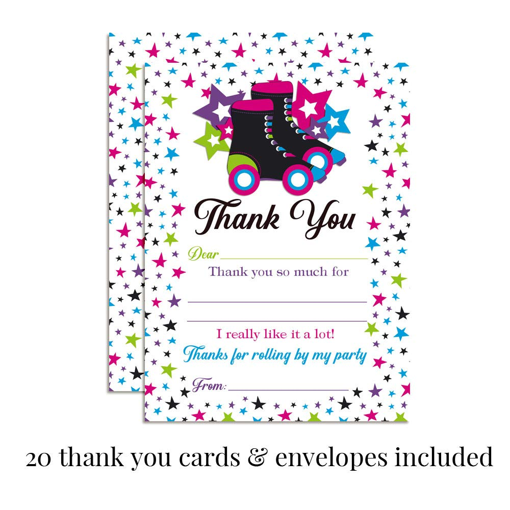 Deluxe Star Roller Skating Birthday Party Bundle, Includes 20 Each of 5''x7'' Fill-in Invitation Cards, Thank You Cards, Thank You Party Favor Stickers and Envelopes by Amanda Creation (Image #3)