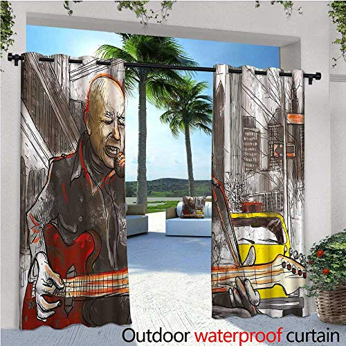 Modern Outdoor Privacy Curtain for Pergola Street Musician Man Singing Playing Guitar Show Performance Grunge Urban Artwork Thermal Insulated Water Repellent Drape for Balcony W96
