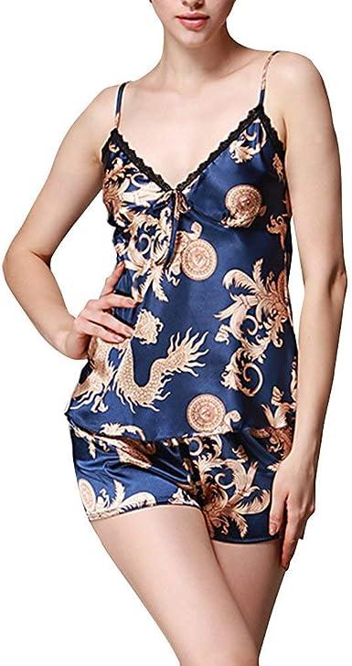 Pijama Mujer Verano Impresión Camisones Camisola Shorts ...