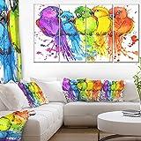 Designart Colorful Parrots Illustration Animal Art Painting