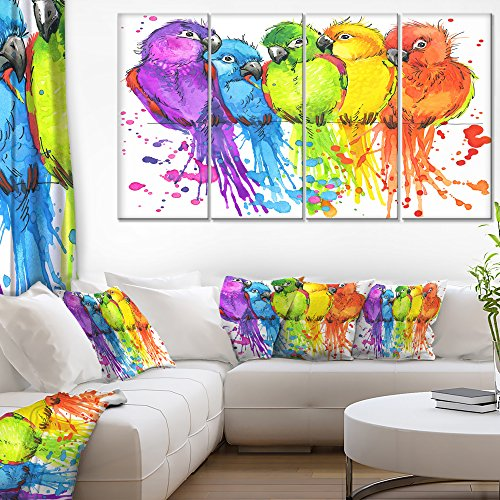 Designart Colorful Parrots Illustration Animal Art Painting by Design Art