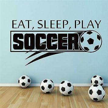 pegatinas de pared baratas Balón de fútbol Fútbol Eat Sleep Play ...