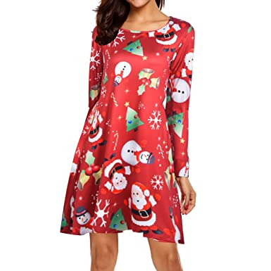 fc6e8f59d96 SamMoSon Women's Georgette Dress,Women Xmas Christmas Dress Long Sleeve  Santa Outfit Christmas Cozy Flared