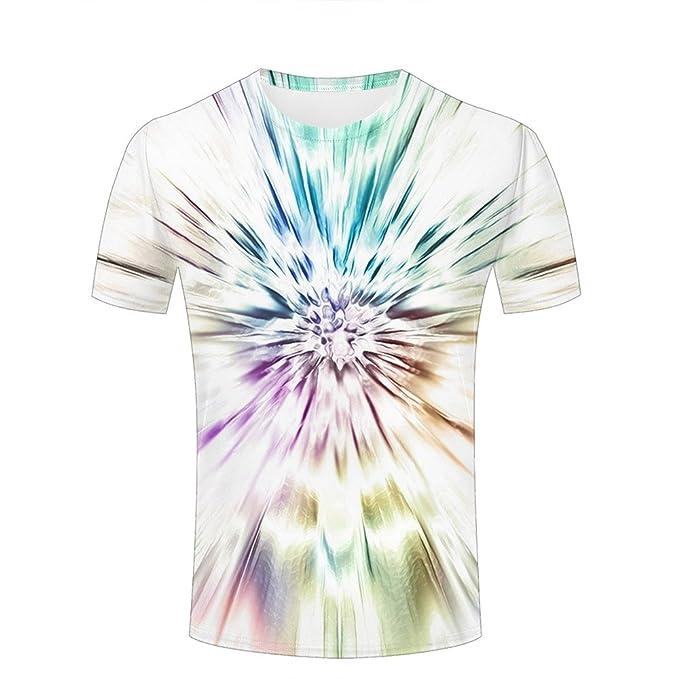 59d5e341d6d9 ruiliye Men 3D T Shirts Blue Purple Flower Abstract Graphic Short Sleeve  Tops XXXL