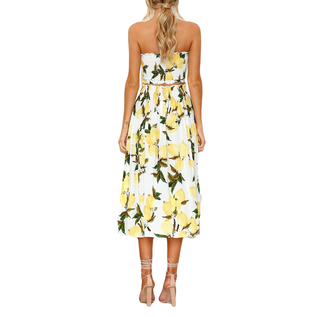 8f831052f6 Jahurto Women Floral Print Two Piece Crop Tube Top+High Waist Pleated Skirt  Set Outfit Size L (Lemon)  Amazon.co.uk  Clothing