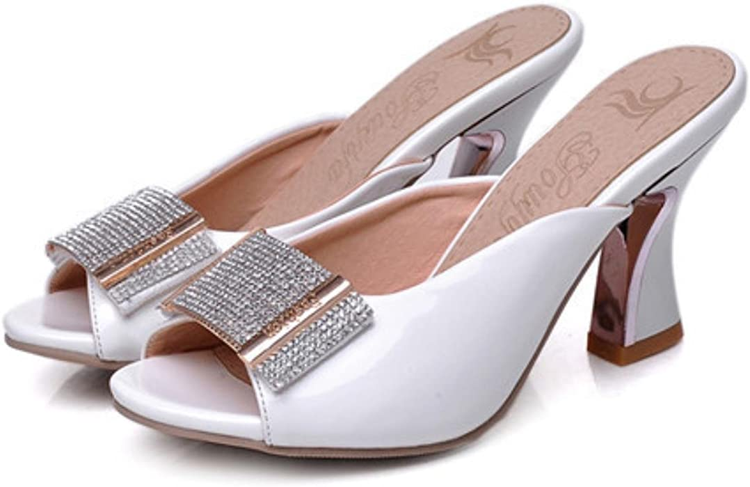 b4a7d2416801b Amazon.com  Meotina Shoes Women Sandals Summer Peep Toe Slides Chunky High  Heels Crystal Beading Slippers Ladies Shoes Pink White 34-39  Clothing
