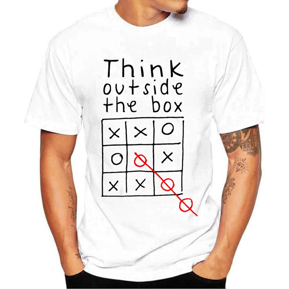 Realdo Men's Casual Tee Shirt, Short Sleeve Think Outside The Box Printing Tee Blouse