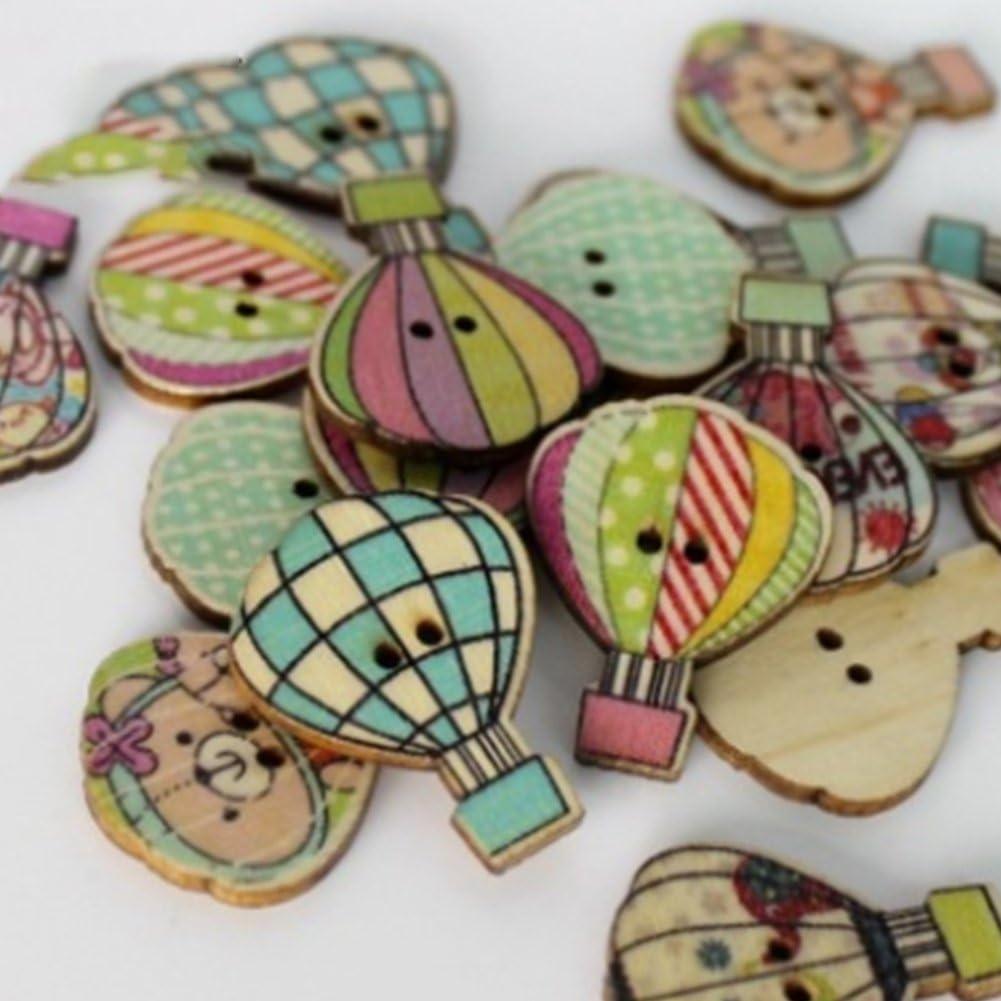 Bouton en Bois Style Chic Naturel Craft pour Couture Bricolage Artisanat Cr/éation De Cartes Embellissements Album et Scrapbooking Montgolfi/ère X 50
