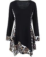Paymenow Women Long Sleeve T-Shirt, Girls Scoop Neck Leopard Splice Swing Tops Pullover With Pocket