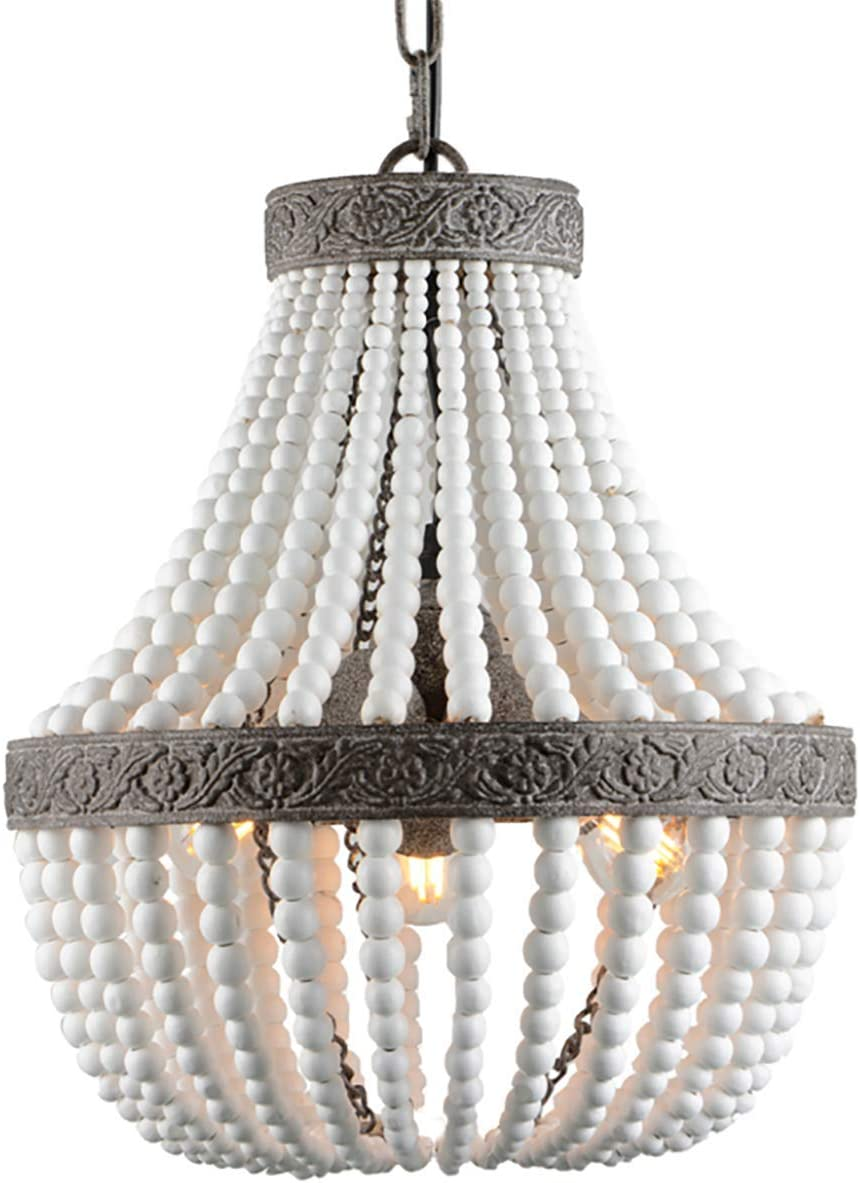 VILUXY Bohemia Wood Beaded Chandelier Antique Rustic Pendant Light White Finishing for Bedroom, Kitchen Island, Gril Room 3-Light