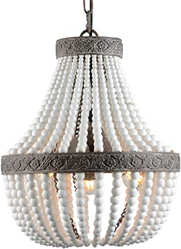 VILUXY Bohemia Wood Beaded Chandelier Antique Rustic Pendant Light White Finishing