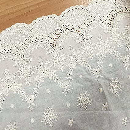 Buy Cheap White And Black Cotton Lace Embroidered Lace Fabrics 5 Yds Mesh Appliqued Lace 3d Flower Diy Sewing Apparel Trims Scalloped 100% Original Home & Garden Arts,crafts & Sewing