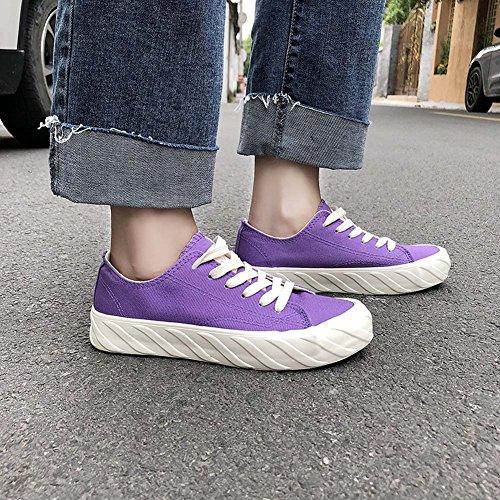 Di Studentesse UK7 Ins Purple Tela Harajuku Flat Shoes Wild Tonigue Shoes Scarpe Shoesuk3 wFt5pqwB