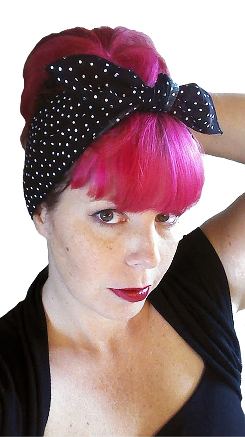 1940s Hair Accessories- Flowers, Snoods, Clips, Bandanas Spellbound Bows Black and White Tiny Polka Dot Wide One Sided Headwrap $7.99 AT vintagedancer.com