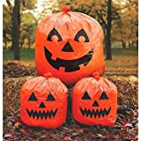 """Amscan Jack-O-Lantern Lawn Bags Halloween Trick or Treat Party Outdoor Decoration, Plastic, 30"""" x 24"""", Pack of 3"""