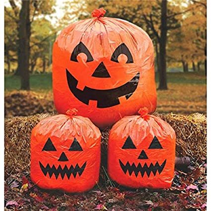 Amscan Jack O Lantern Lawn Bags Halloween Trick Or Treat Party Outdoor  Decoration,