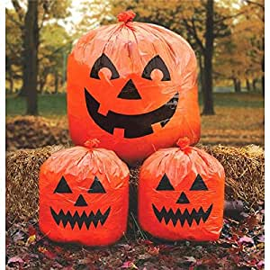 """Family Friendly Jack-O-Lantern Lawn Bags Halloween Trick or Treat Party Outdoor Decoration, Plastic, 30"""" x 24"""", Pack of 3."""