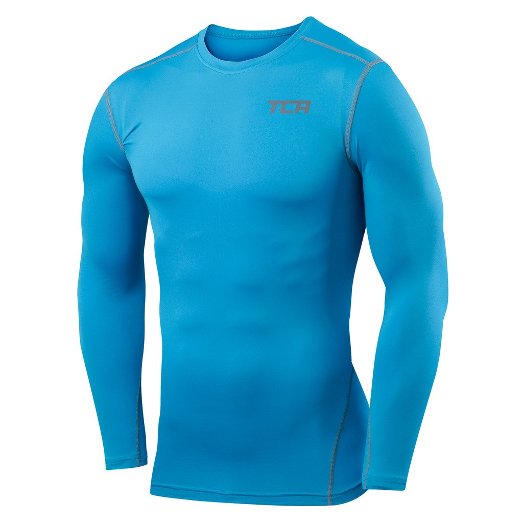 Boys TCA Pro Performance Compression Shirt Long Sleeve Base Layer Thermal Top - Sky Blue, S