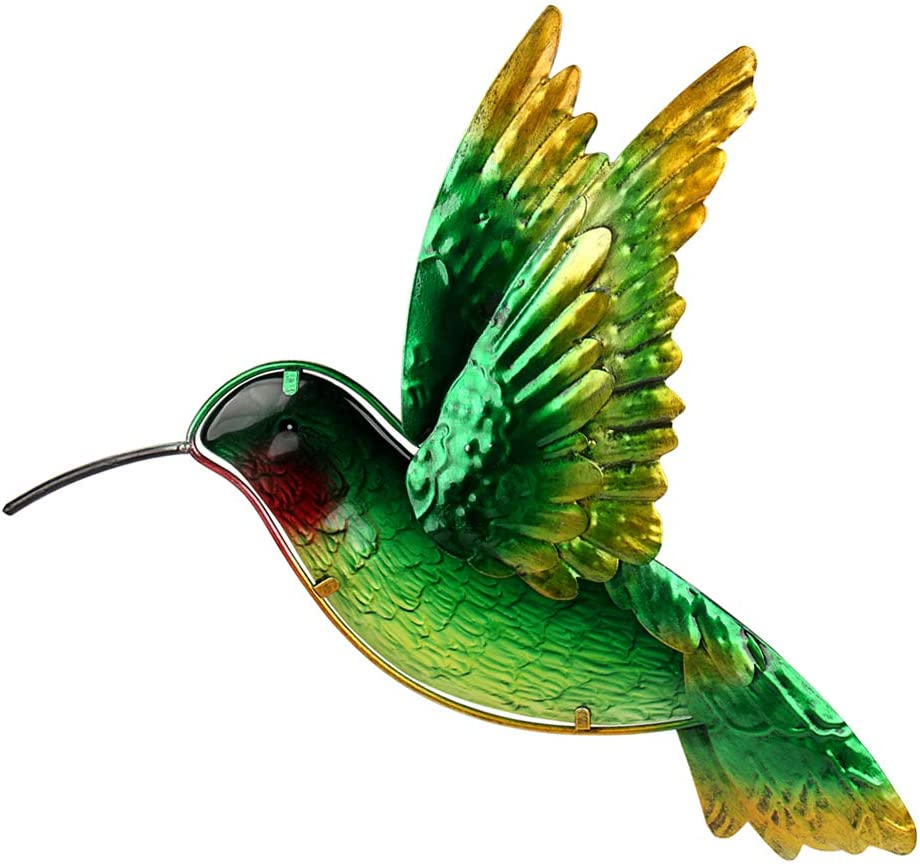 John's Studio Metal Hummingbird Wall Decor Bathroom Glass Art Iron Sculpture Outdoor Green Hanging Decoration for Home Bedroom Garden Patio Porch or Fence