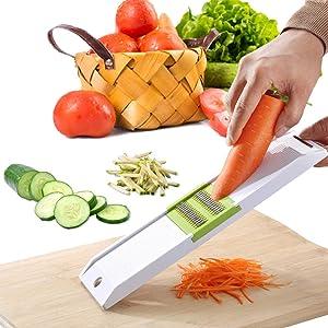 Handheld Slicer for Food and Vegetables-VEKAYA Adjustable Vegetable Slicer for Potatoes, Onion and Cucumber, Vegetable Shredder and Julienne Slicer