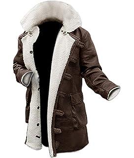 Shearling Mens Winter Jacket | Vintage Men Leather Jackets Fur Coat Brown