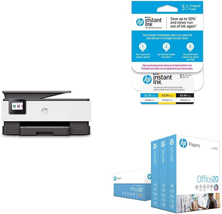 HP OfficeJet Pro 8035 All-in-One Wireless Printer - Basalt (5LJ23A) with Instant Ink 5 Dollar Prepaid Card and HP Office20 Paper
