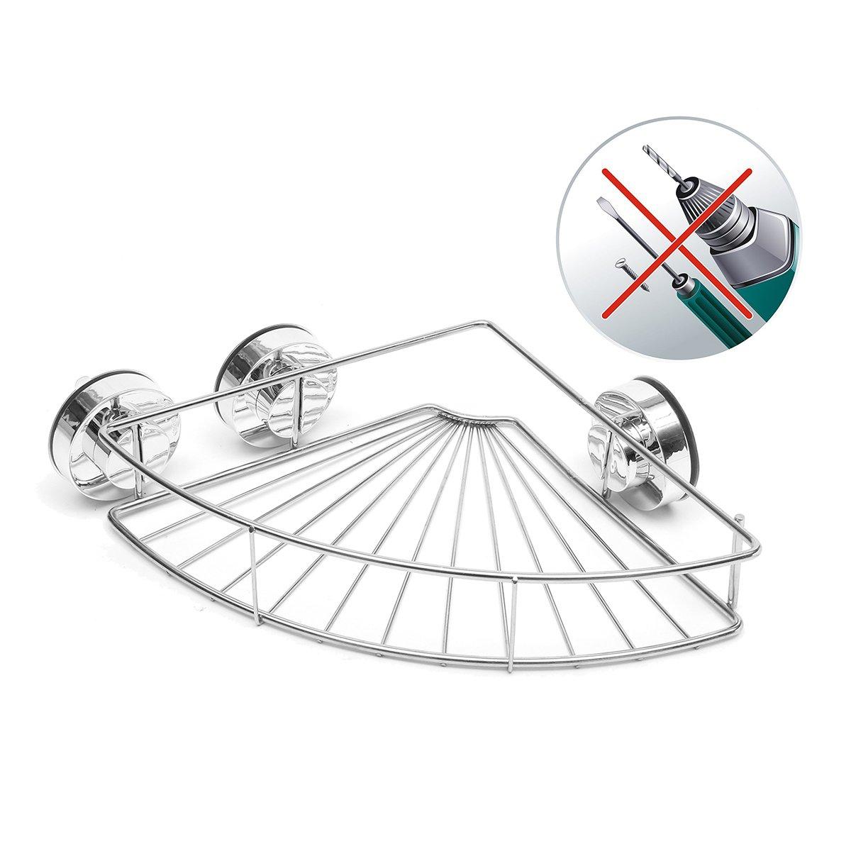 GEMITTO Bathroom Shelf, Wall Mounted 304 Stainless Steel Shower Shelf kitchen basket organizer, Vacuum Suction Cup Corner Shower Caddy (No Drilling) GEMITTOOHBUS3567812112