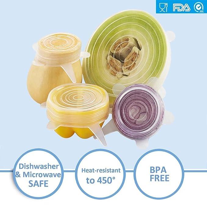 Flexible Silicona Stretch tapas Wrap Universal resistente al calor ampliable Fundas para tarros cuencos platos platos vasos mantener alimentos bebidas ...
