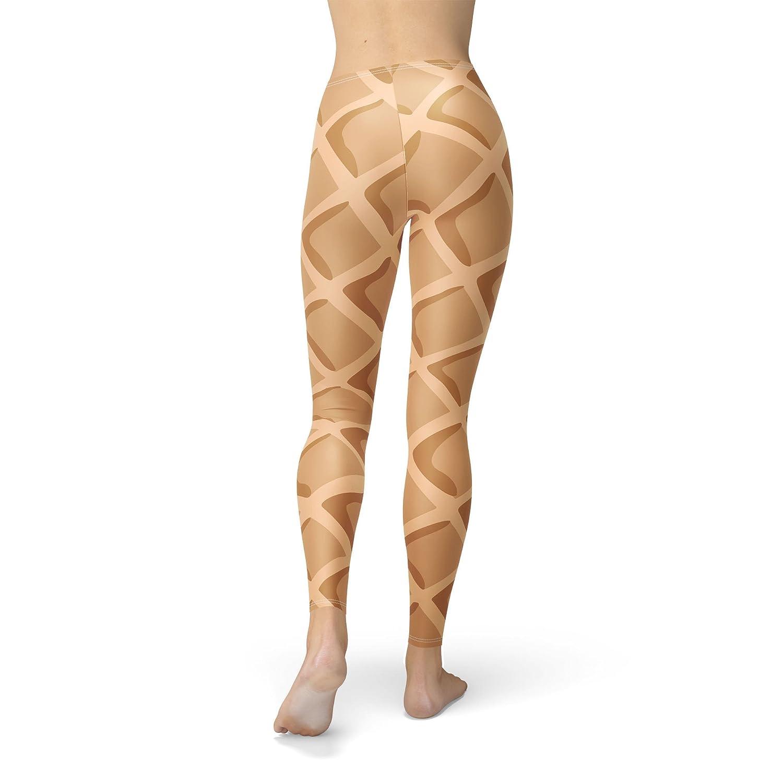 Icecream Waffle Cone Fleece Leggings XS-3XL