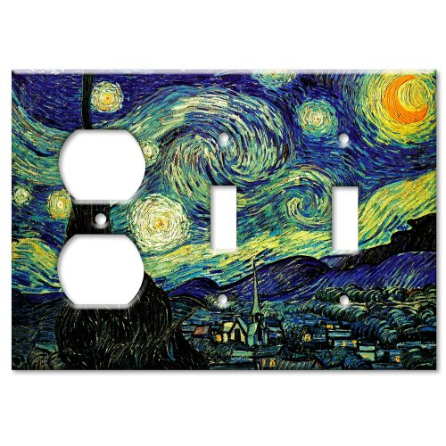 Van Gogh: Starry Night Metal Wall Plate - Triple Gang Combo - Outlet / 2 Toggles