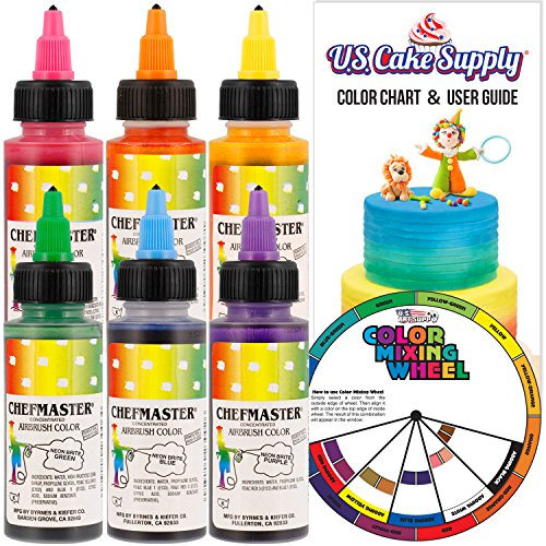 Chefmaster by US Cake Supply 2.3-Ounce Neon Airbrush Cake Food Colors 6 Bottle Kit with Color Mixing Wheel