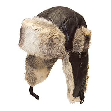 8f589ac5321 Mens Tracker Trapper Bomber Aviator Air Russian Army Fake Fur Ear Flap  Cossack Winter Military Army Hat Cap Beret  Amazon.co.uk  Clothing