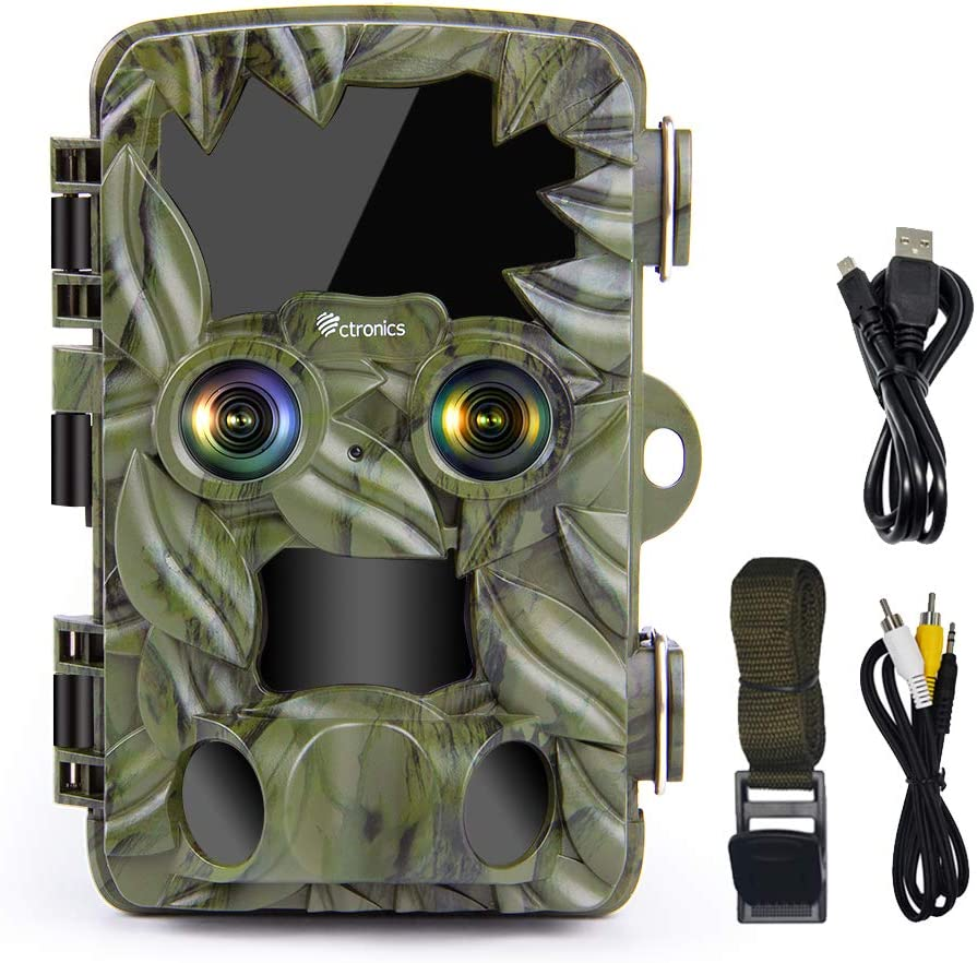 Ctronics Trail Camera Dual-Lens with Starlight Night Vision, 4K/20MP Wildlife Game Camera Deer Hunting Camera Motion Activated Night Vision Waterproof for Outdoor Wildlife Monitoring Home Security