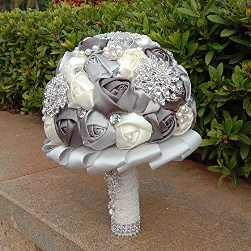 Wedding-Bouquets-for-Bride-Amoleya-78-Inch-Handmade-Bridal-Bouquet-Bridesmaid-Bouquet-of-Satin-Flower-Roses-with-Bling-RhinestonesIvoryGrey