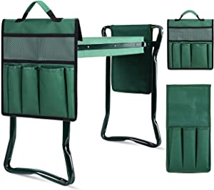 Garden Kneeler and Seat, Kneeler Seat for Gardening Heavy Duty Folding Garden Stools with Soft Kneeling Pad, Multi-Function Gardening Bench with 2 Tool Pouches, Garden Gifts for Women Senior