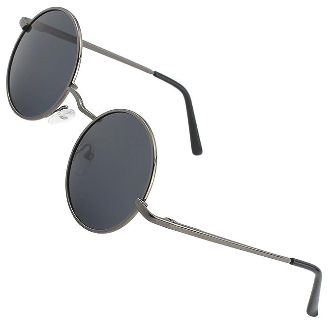 CGID E01 Peque?o Estilo Vintage Retro Lennon inspirado círculo metálico redondo gafas de sol polarizadas para hombres y mujeres