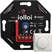 iolloi Zigbee Dimmer 5-200 W, 230 V fase-sectie draaidimmer voor dimbare led- en halogeenlampen, compatibel met Philips…