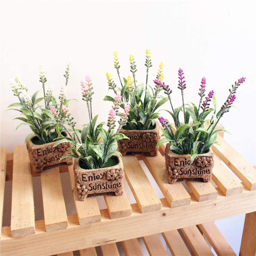 LOadSEcrs Fakeflowers Decor 1Pc Artificial Lavender Bonsai Stage Garden Hanging Flowers DIY Wedding Bouquets Party Home Decorations Pink