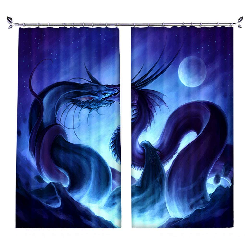 ZZHL Curtains Curtains,Hooks Rings Thermal Insulated Bedroom Blackout for Livingroom Kitchen Bar Cafe 2 Panels Blue B4 (Size : 150x270cm)