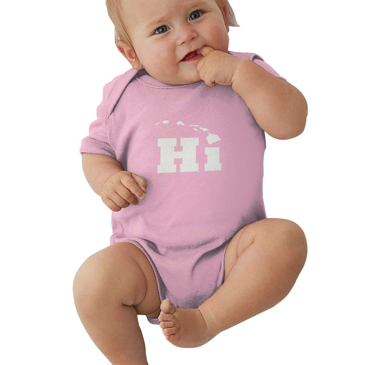 Dfenere Hi with Hawaii Island Logo Graphic Newborn Baby Short Sleeve Bodysuit Romper Infant Summer Clothing Black