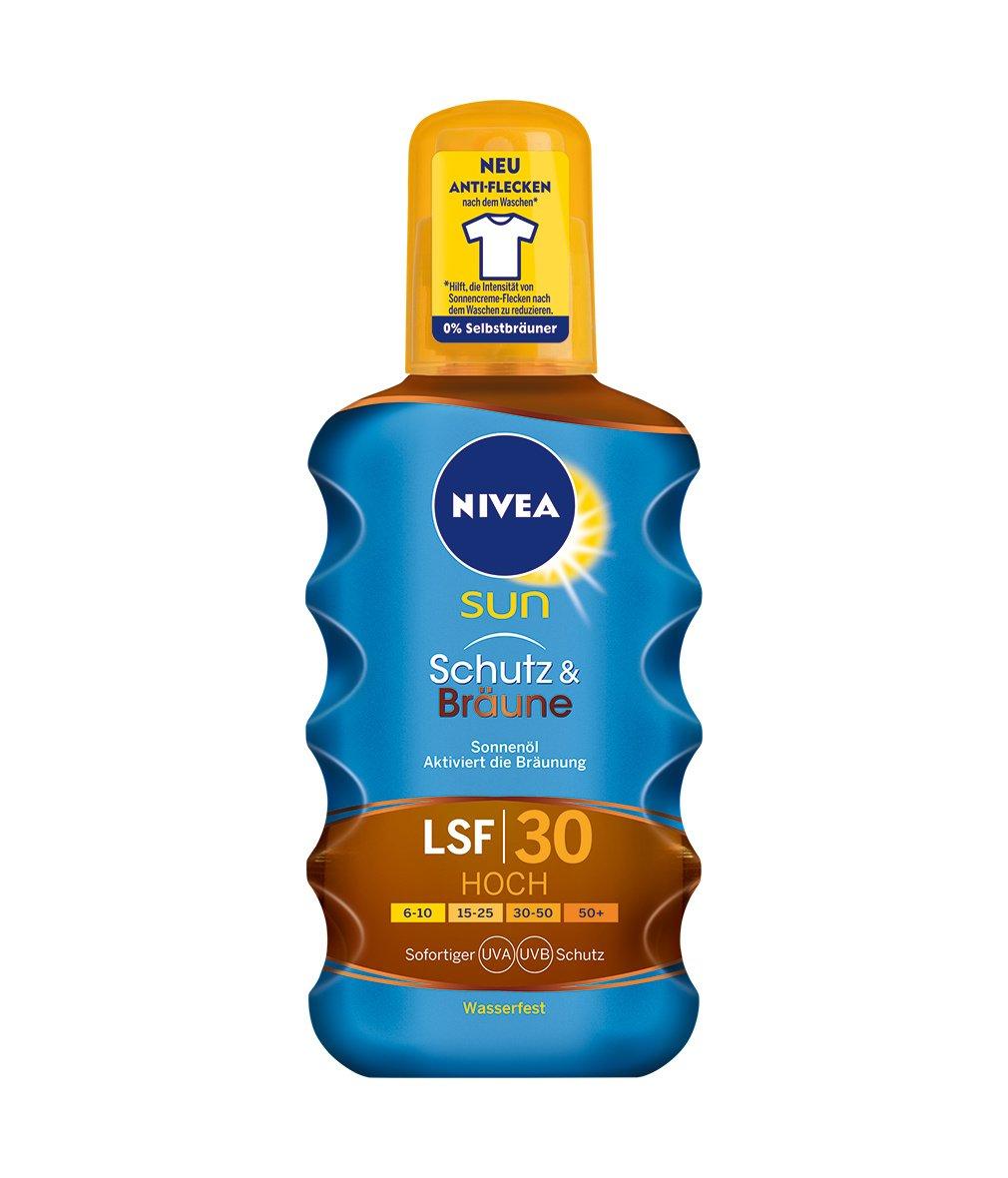 NIVEA SUN Sonnenöl-Spray, Lichtschutzfaktor 30, Sprühflasche, Schutz und Bräune, 200 ml NIVEA SUN Sonnenöl-Spray Sprühflasche Schutz und Bräune 86038-01000-18