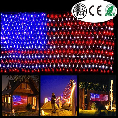 Hanging American Flag (American Flag Light with 420 super bright LED,KAZOKU Waterproof Outdoor Decor garden lights Path Lights Hanging Fairy Lights for Independence Day, Memorial Day, Festival, Holiday, Decoration)