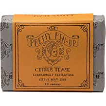 The Pretty Pinup Citrus Tease Exfoliating Bar Soap Moisturizes and Lathers so Thick you won't need Shaving Cream ever again. Incredible Stocking Stuffer for Women