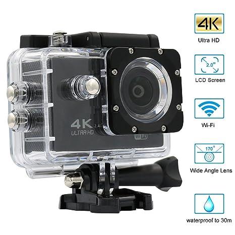 Cámara Deportiva 4K Full HD 1080P Action Camera Sumergible Hasta 30 Metros Wifi Lente de Gran Angular de 170° Pantalla de LCD de 2 Pulgadas de Hieha